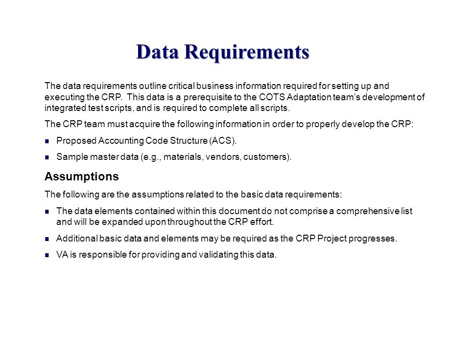 Data Requirements Assumptions