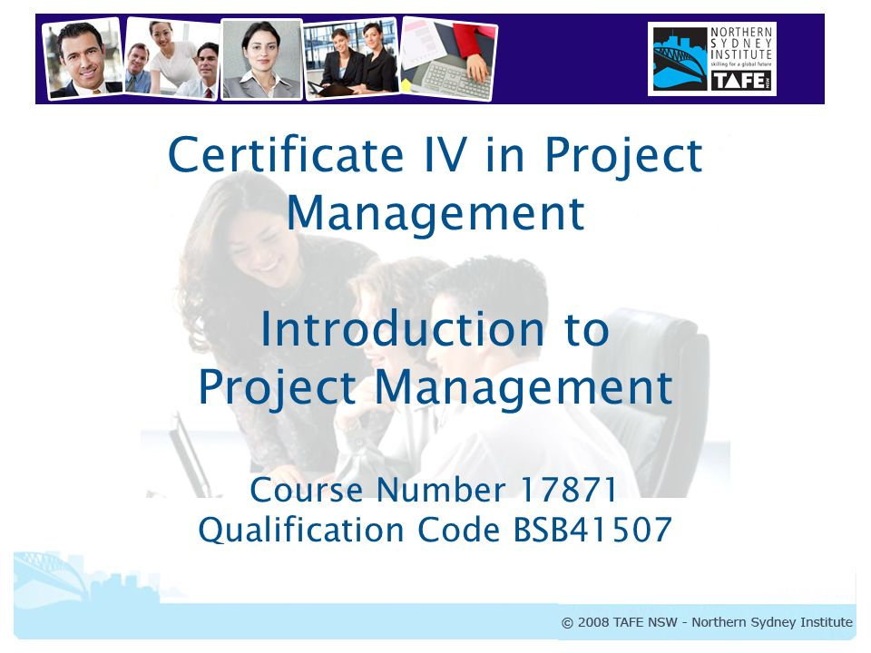 Certificate Iv In Project Management Introduction To Project