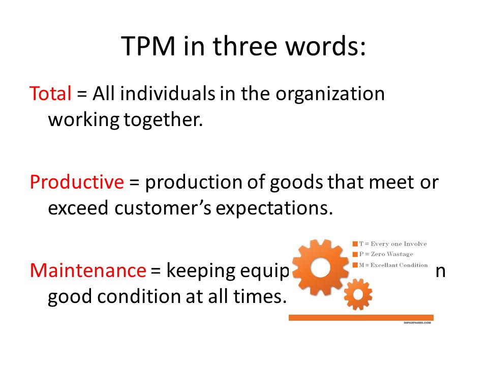 TPM in three words: Total = All individuals in the organization working together.
