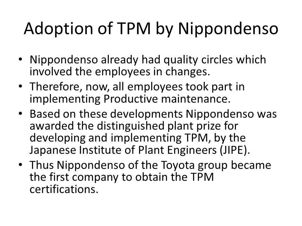 Adoption of TPM by Nippondenso