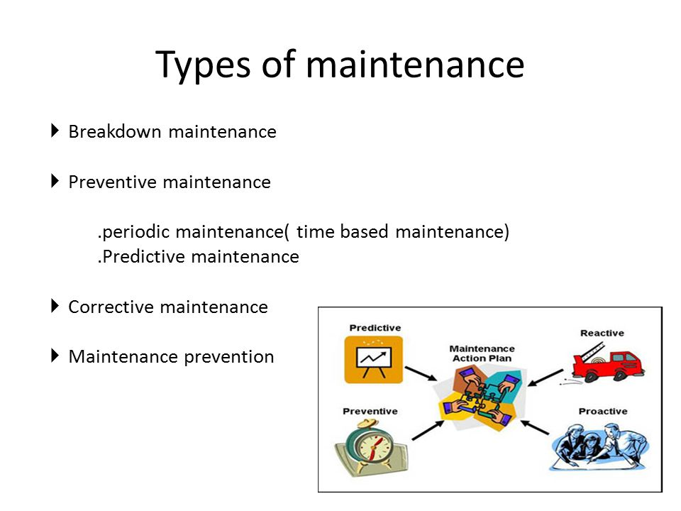 Types of maintenance Breakdown maintenance Preventive maintenance