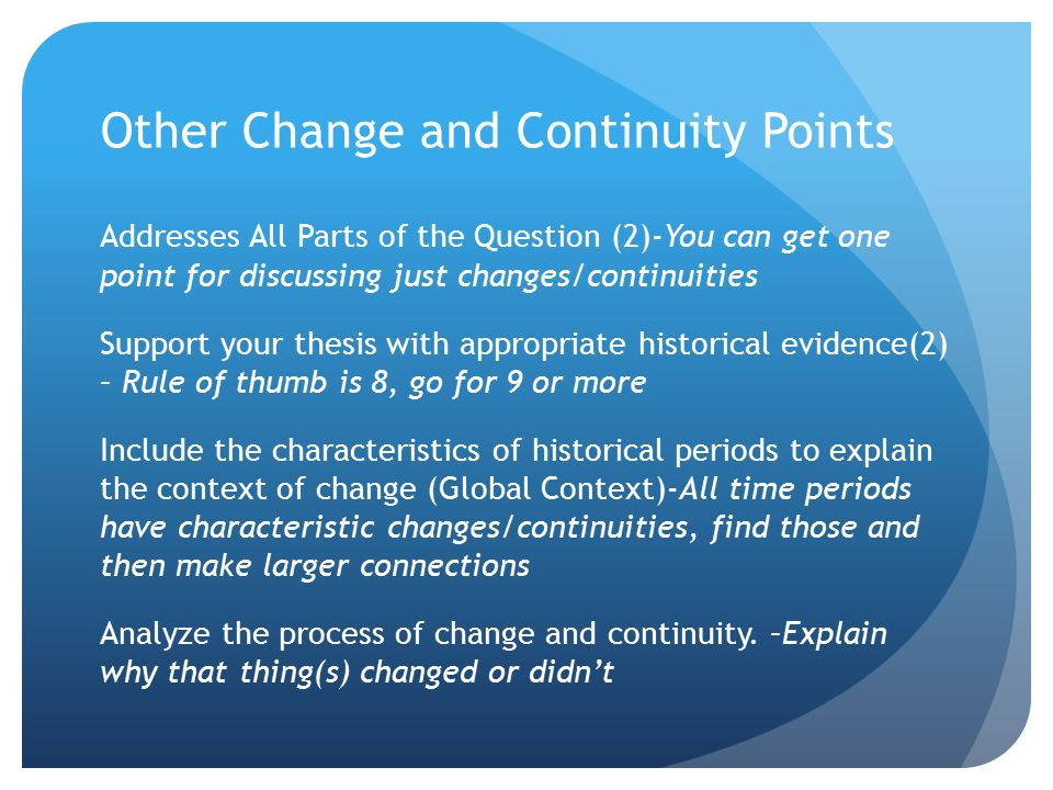 change and continutie