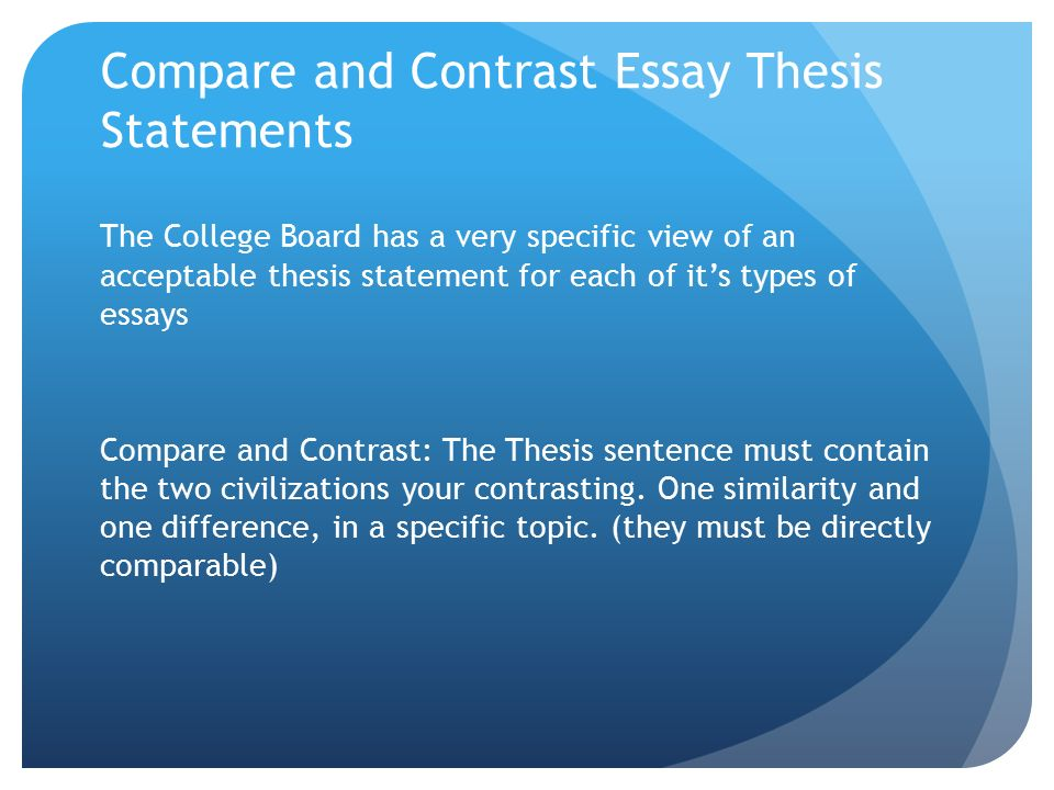 make thesis statement compare contrast essay What is a thesis the thesis is a statement (usually a single sentence) that  expresses the central idea or main argument of the essay and reflects the writer's  purpose for writing it  don't write the thesis as a fact: this doesn't allow the  writer to develop their ideas or prove anything  compare/contrast thesis  introduces two.