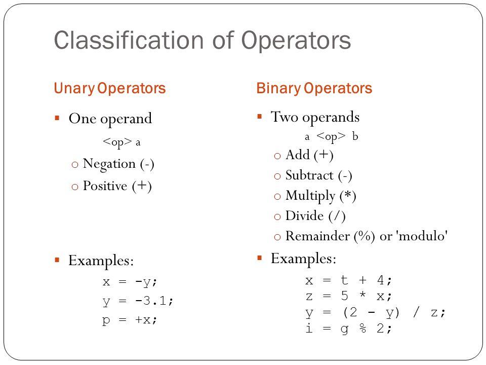Classification of Operators