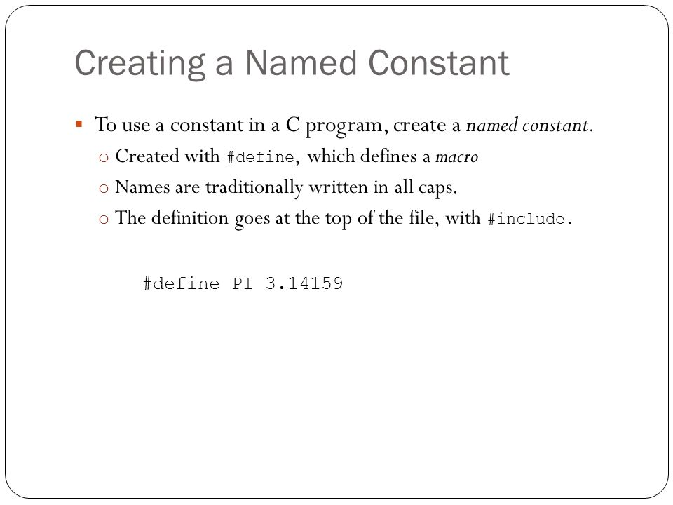 Creating a Named Constant