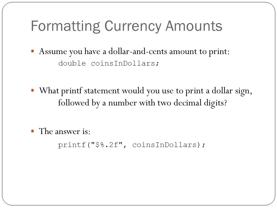 Formatting Currency Amounts
