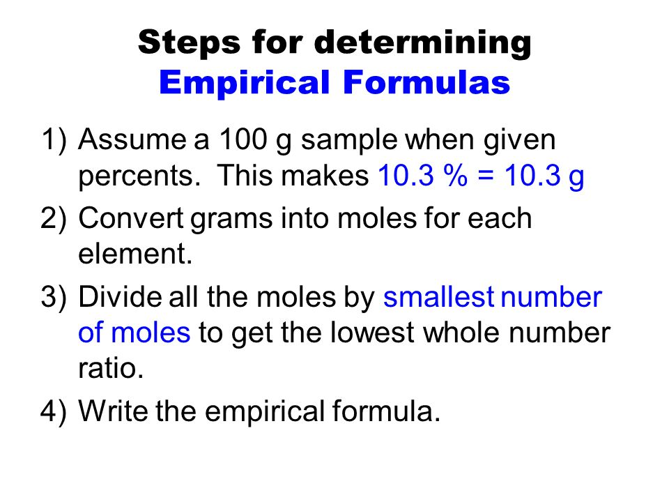 writing empirical formulas We then determine the number of empirical units in a molecule by write the empirical formula for the following compounds containing, a.