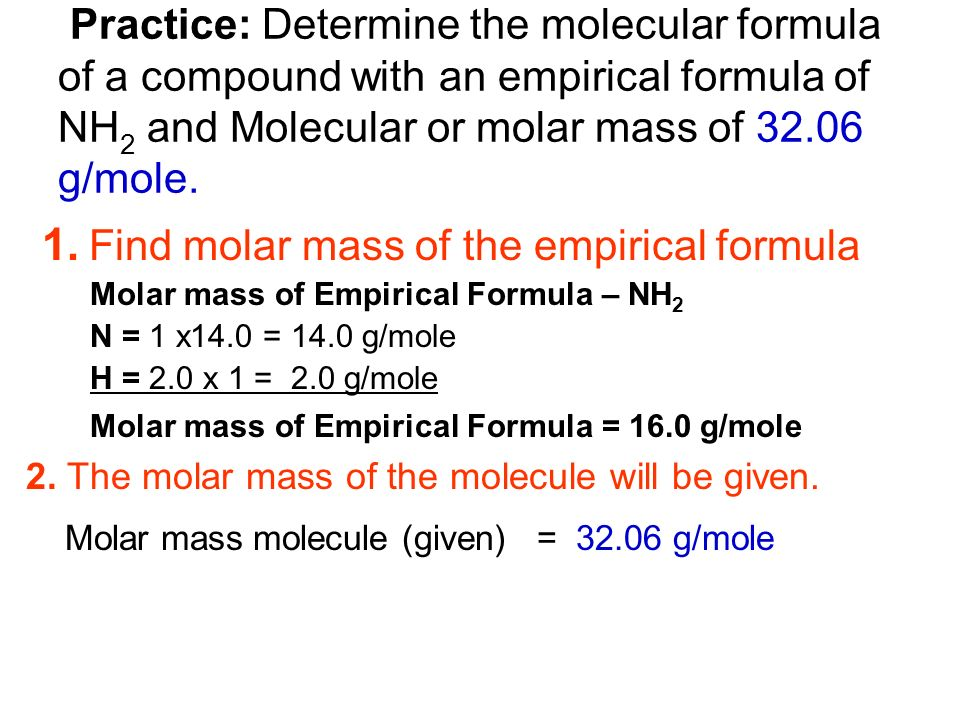 Determining empirical formula practice