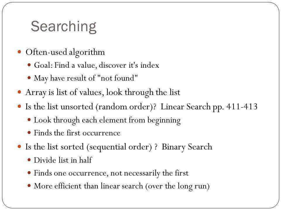 Searching Often-used algorithm