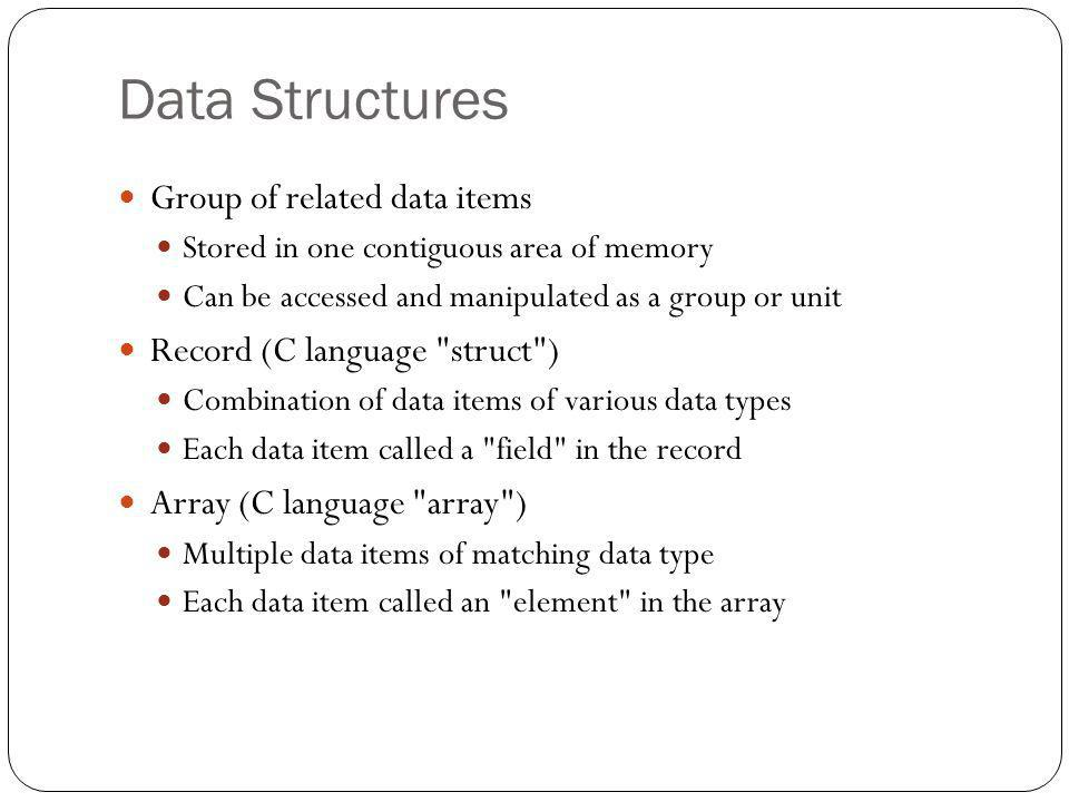 Data Structures Group of related data items