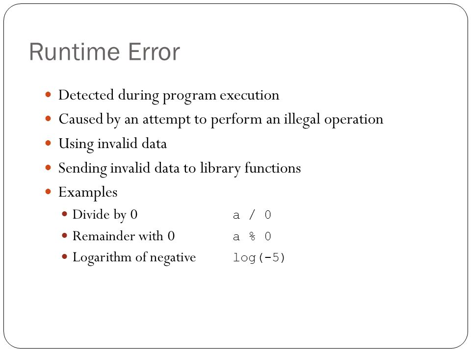 Runtime Error Detected during program execution