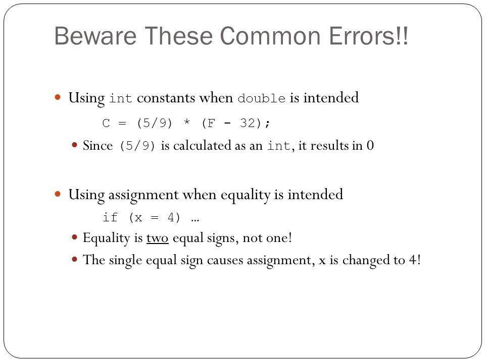 Beware These Common Errors!!