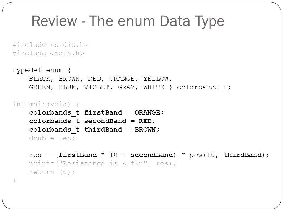 Review - The enum Data Type