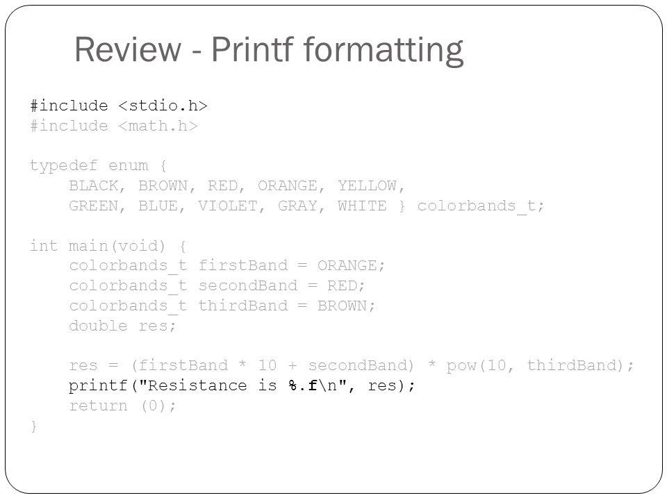 Review - Printf formatting