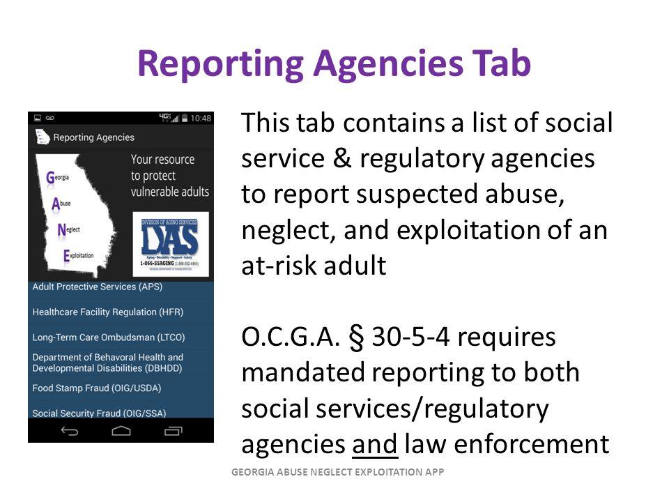 Reporting Agencies Tab