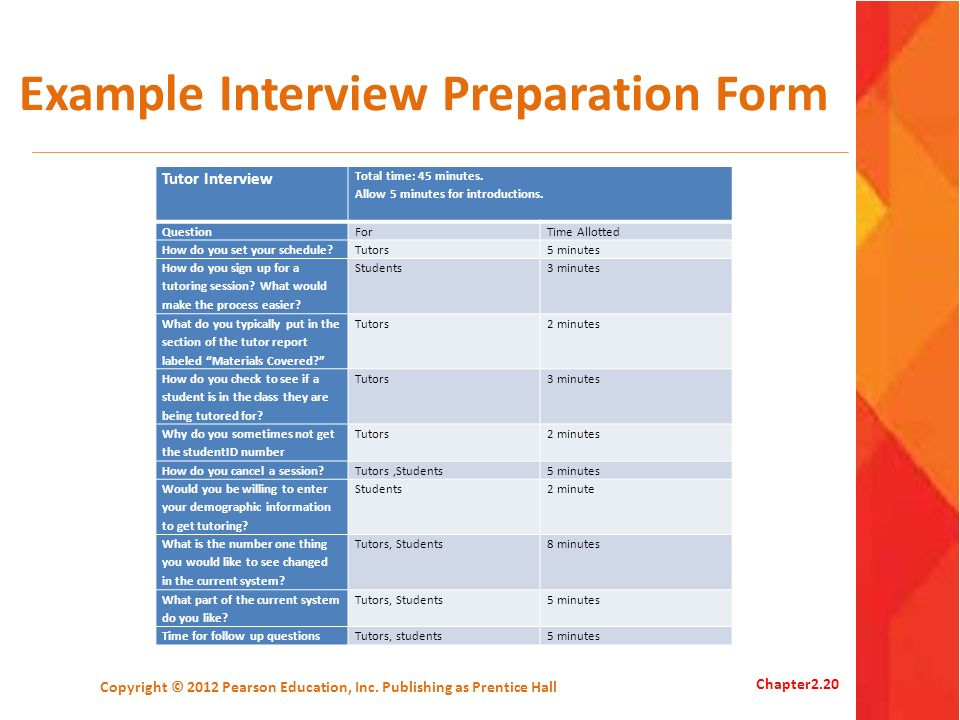 Example Interview Preparation Form