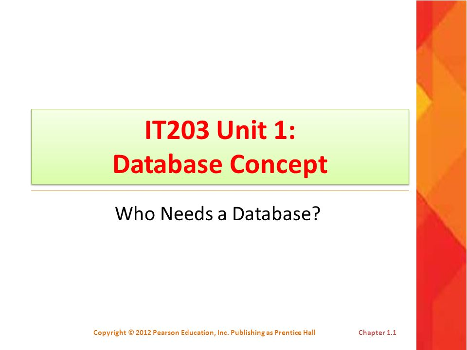 IT203 Unit 1: Database Concept