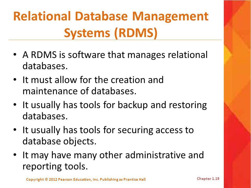 Relational Database Management Systems (RDMS)