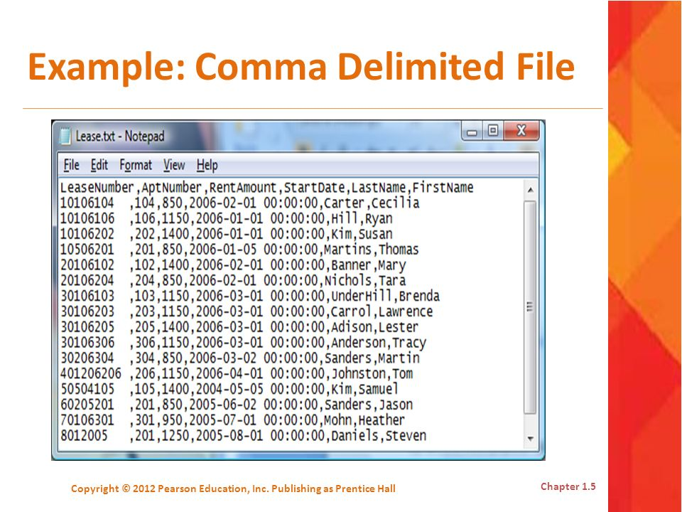 Example: Comma Delimited File
