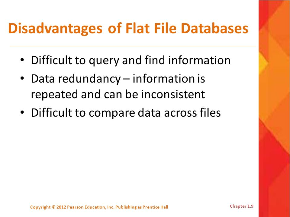 Disadvantages of Flat File Databases