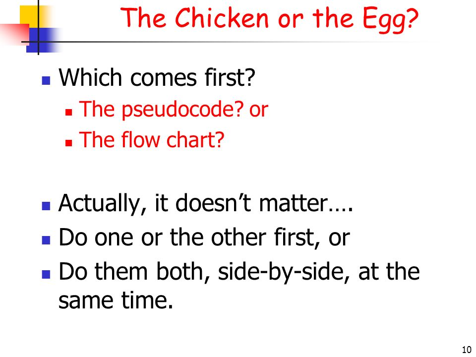 The Chicken or the Egg Which comes first