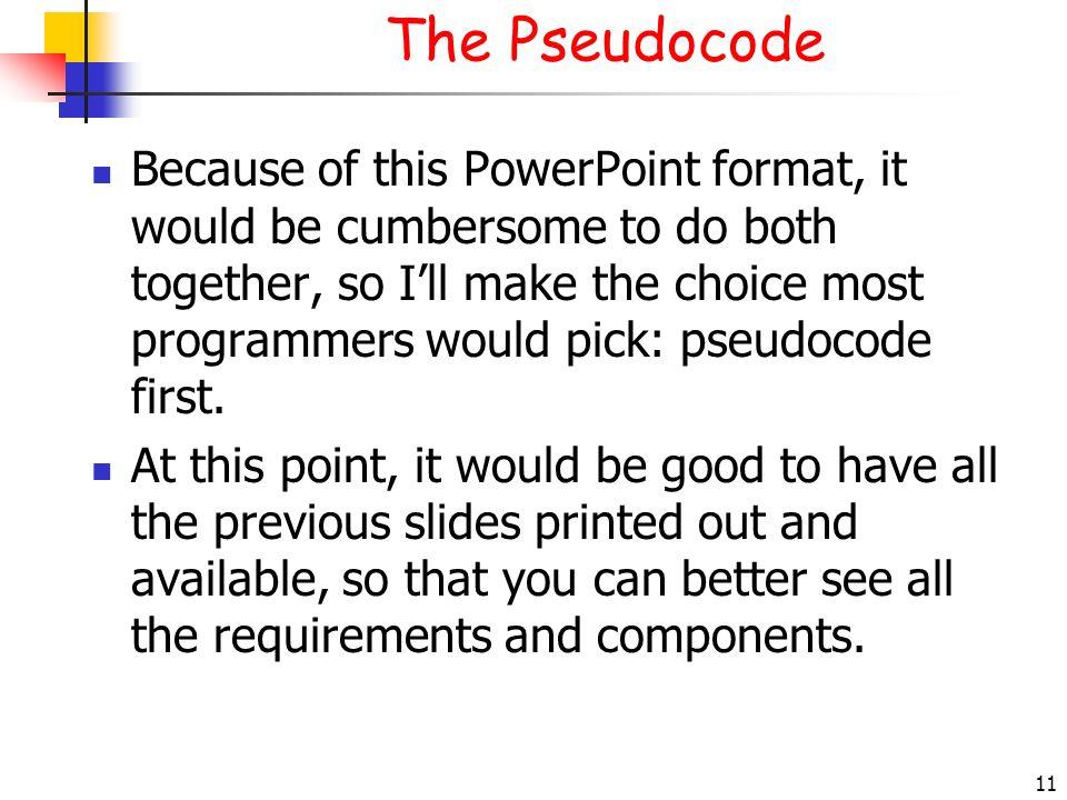The Pseudocode 3/28/2017.