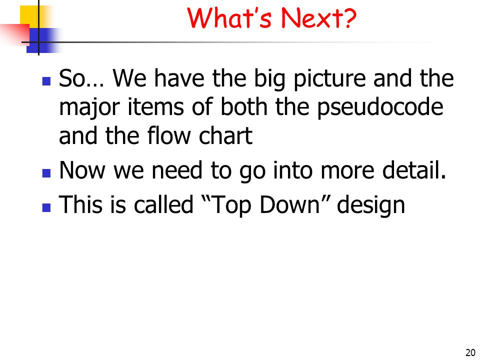 What's Next 3/28/2017. So… We have the big picture and the major items of both the pseudocode and the flow chart.