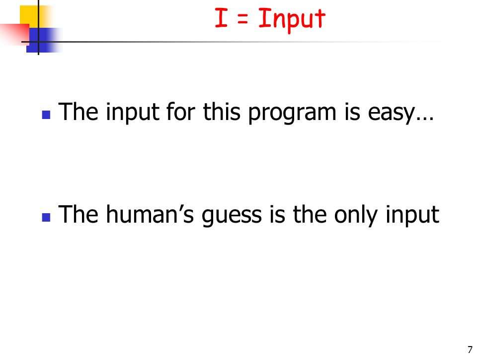 I = Input The input for this program is easy…