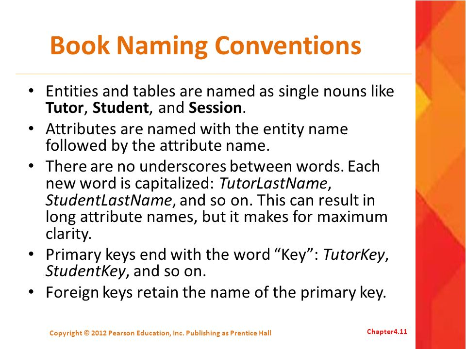 Book Naming Conventions