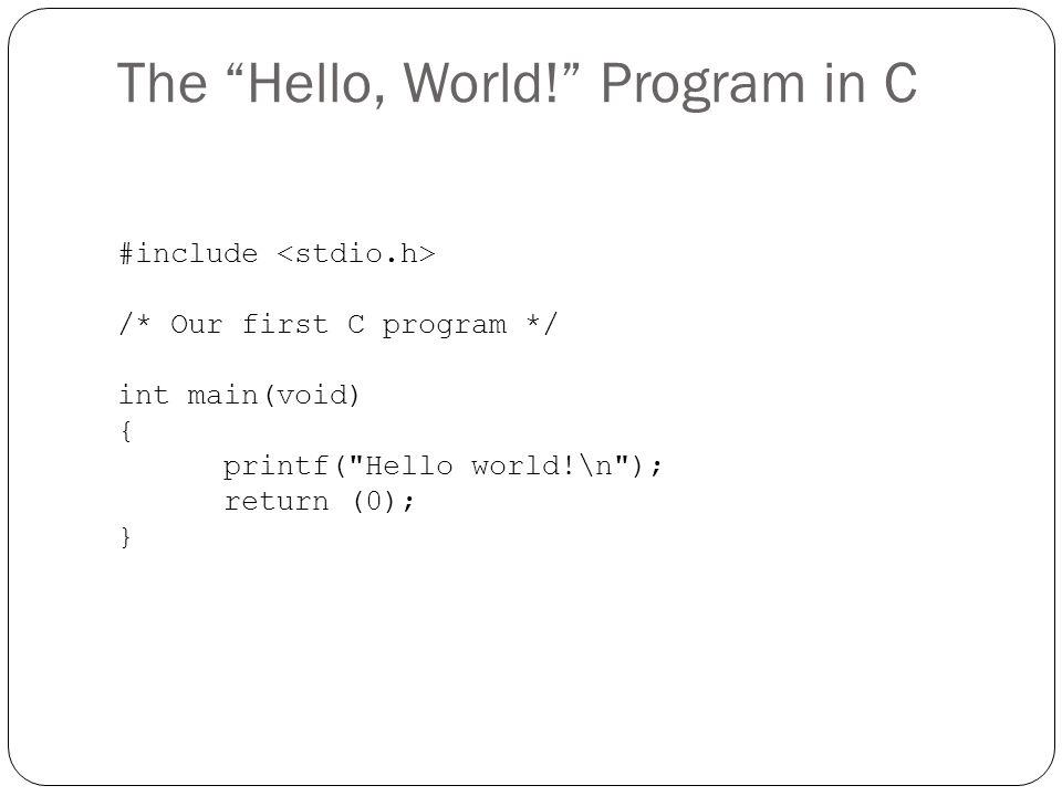 The Hello, World! Program in C
