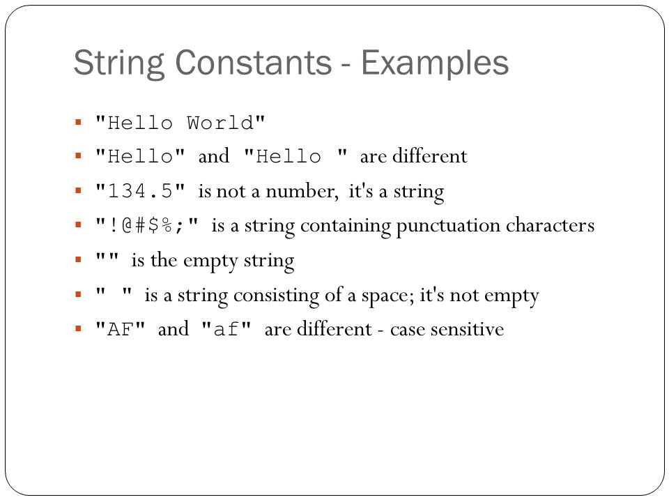 String Constants - Examples
