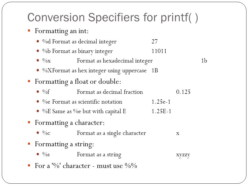 Conversion Specifiers for printf( )