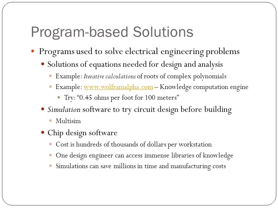 Program-based Solutions