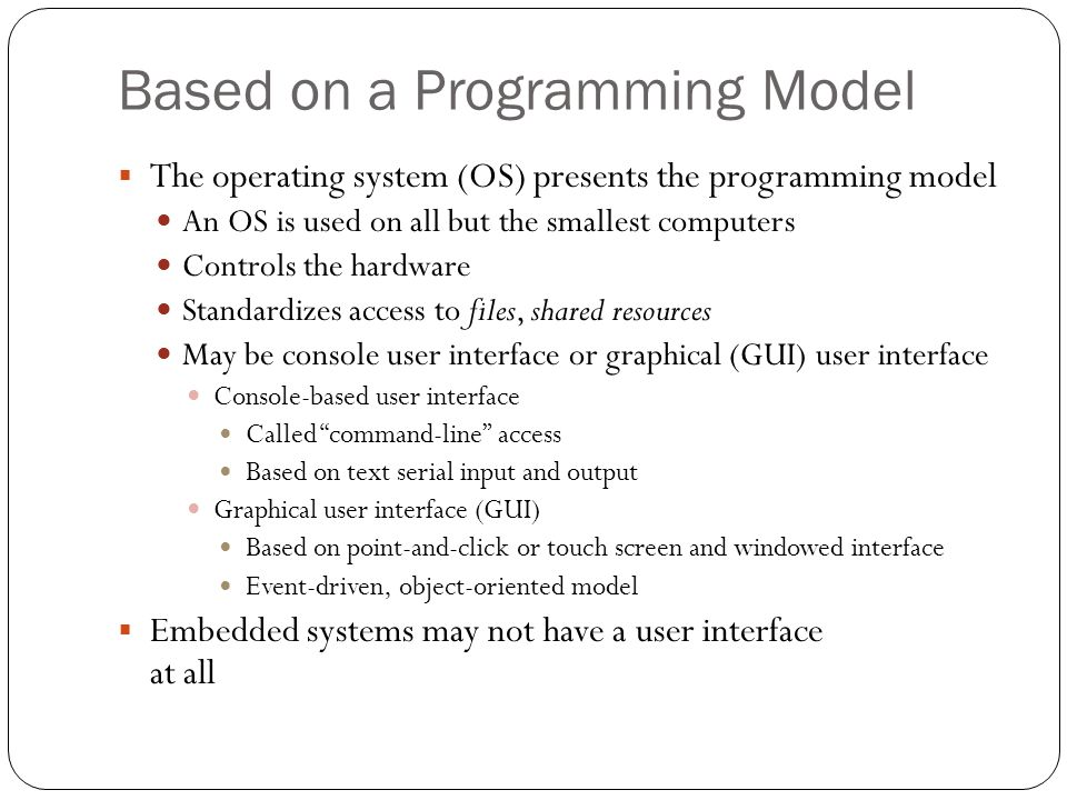 Based on a Programming Model