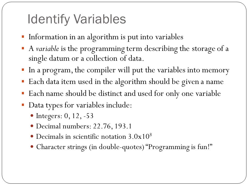 Identify Variables Information in an algorithm is put into variables