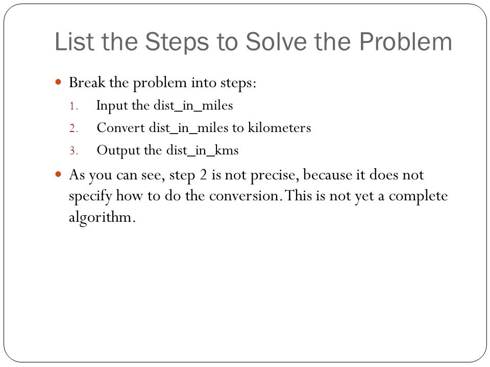List the Steps to Solve the Problem