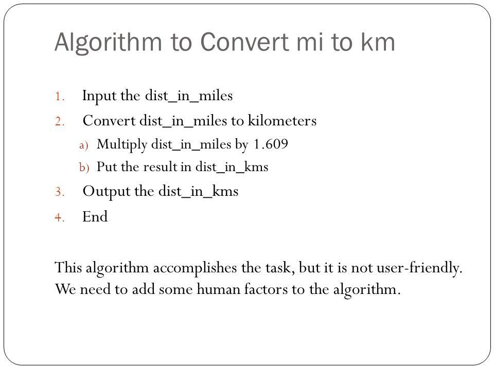Algorithm to Convert mi to km
