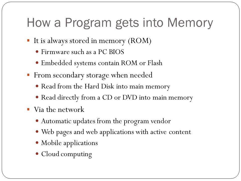 How a Program gets into Memory