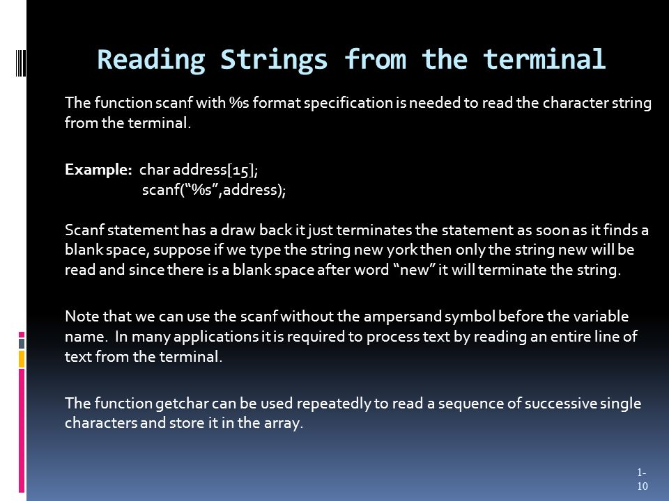 Reading Strings from the terminal