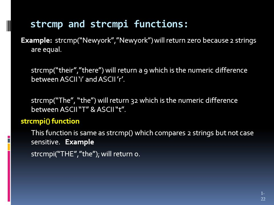 strcmp and strcmpi functions: