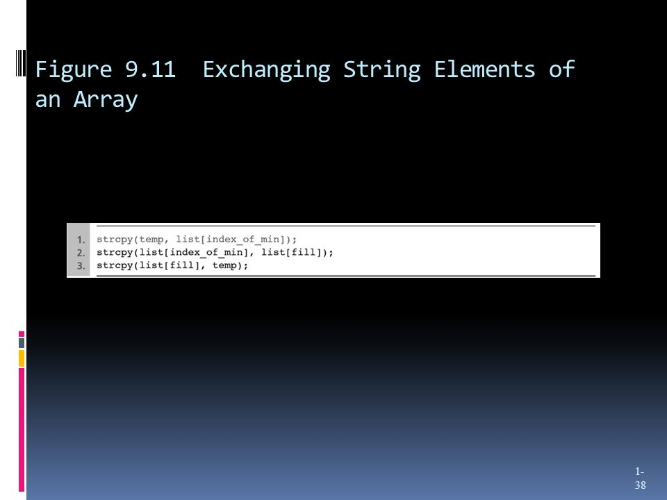 Figure 9.11 Exchanging String Elements of an Array