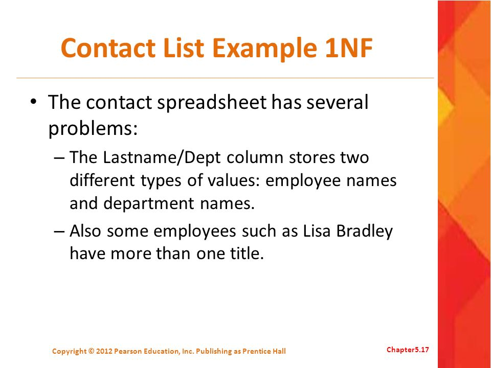 Contact List Example 1NF