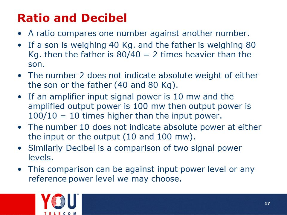 Ratio and Decibel A ratio compares one number against another number.