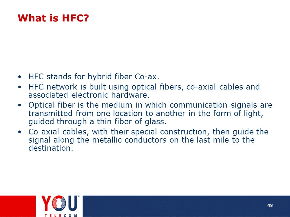What is HFC HFC stands for hybrid fiber Co-ax.
