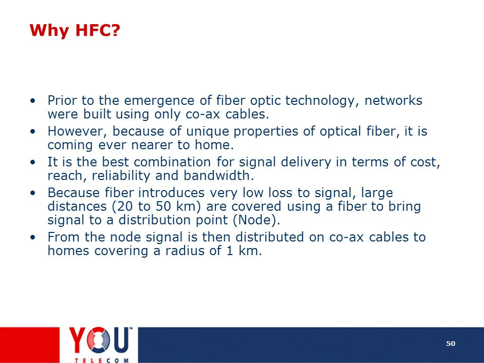 Why HFC Prior to the emergence of fiber optic technology, networks were built using only co-ax cables.