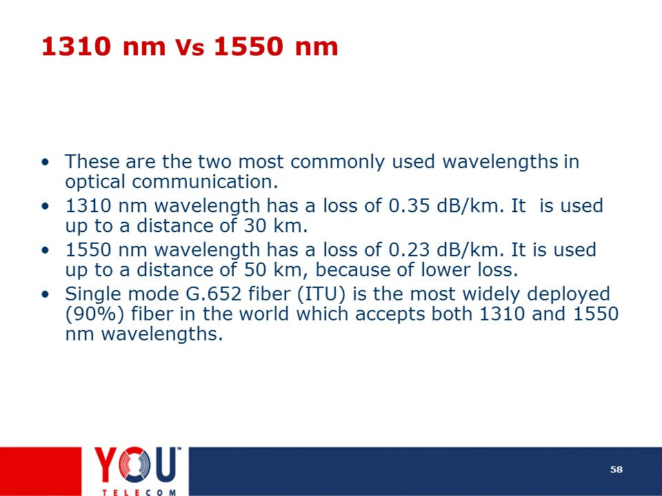 1310 nm Vs 1550 nm These are the two most commonly used wavelengths in optical communication.