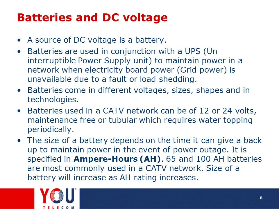 Batteries and DC voltage
