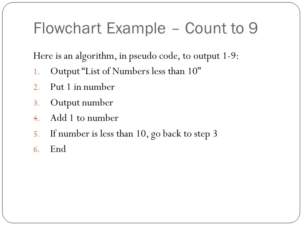 Flowchart Example – Count to 9