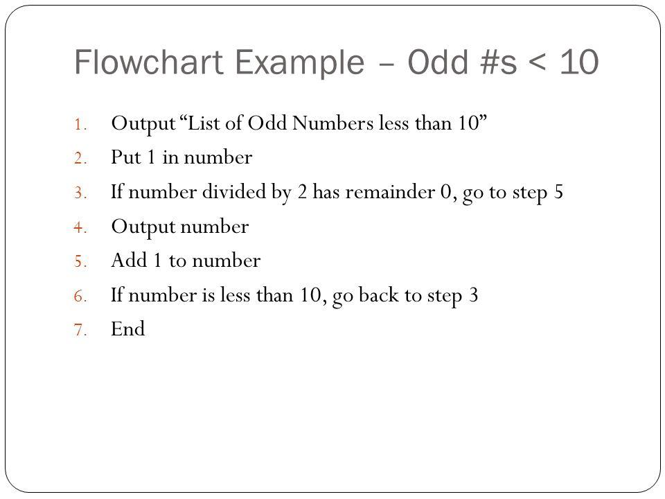 Flowchart Example – Odd #s < 10