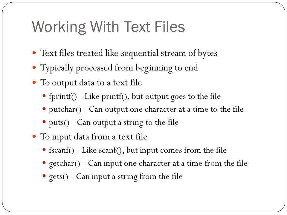Working With Text Files